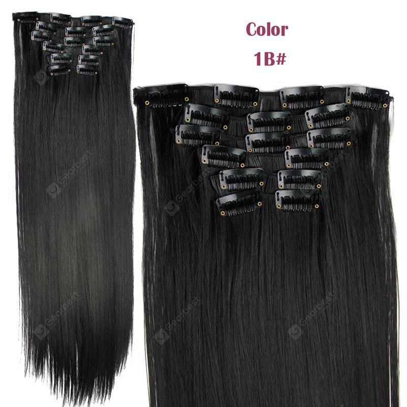 Long Straight Clip-In Heat Resistant Synthetic Hair Extension Suit For Women
