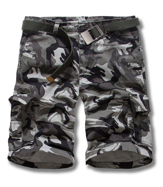 GRAY 34 Camouflage Style Straight Leg Loose Fit Pockets Embellished Zipper Fly Men's Shorts