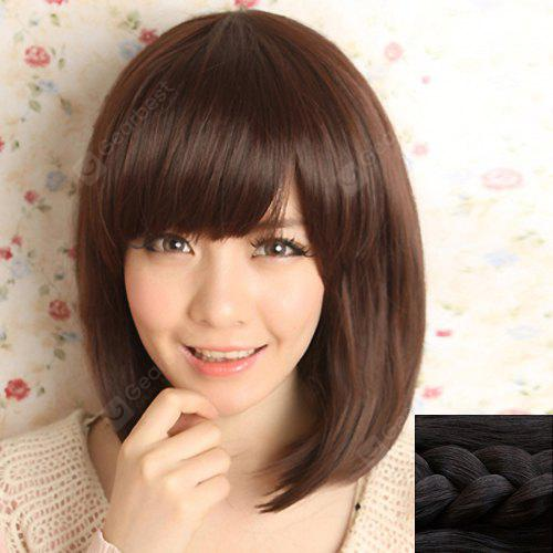 Stylish Silky Side Bang Sweet Style Medium Straight Synthetic Capless Wig For Women