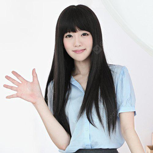 Stylish Ladylike Full Bang Long Straight Layered Synthetic Capless Wig For Women