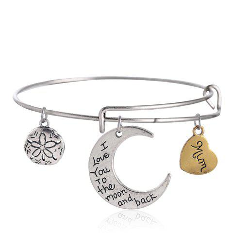 Engraved Heart Moon Round Bracelet