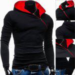 Buy Trendy Long Sleeves Hooded Personality Inclined Zipper Design Slimming Solid Color Men's Cotton Blend Hoodies L BLACK