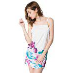 Spaghetti Strap Backless Floral Print Summer Dress - WHITE