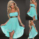 Strapless High Low Maid of Honor Dress - BLUE