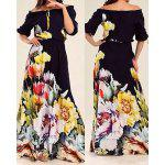 cheap Stylish Slash Neck Flower Pattern Half Sleeve Maxi Dress For Women