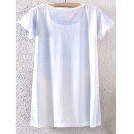 Buy Casual Scoop Neck Watercolor Print Short Sleeve T-Shirt Women WHITE