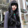 Elegant Long Wave Charming Full Bang Heat Resistant Synthetic Capless Wig For Women - BLACK