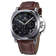 MEGIR 3006 Japan Quartz Male Watch Water Resistance with Date Function Genuine Leather Band