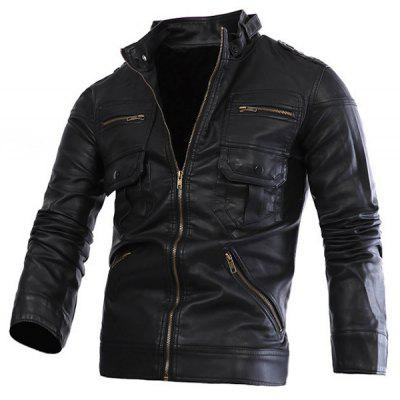 Fashion Stand Collar Slimming Solid Color Multi-Zipper Long Sleeve PU Leather Jacket For Men