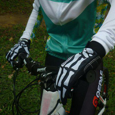 Qepae Skull Pattern Cold-proof Cycling Gloves Inside with 3mm Shockproof SBR Pad