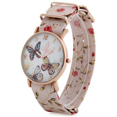 Butterfly Dial Ladies Fresh Style Quartz Watch Floral Print Leather Strap Wristwatch