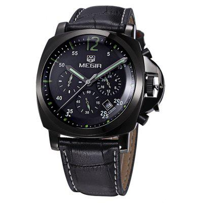 MEGIR 3009 Japan Quartz Male Watch Water Resistance with Date Function Genuine Leather Band