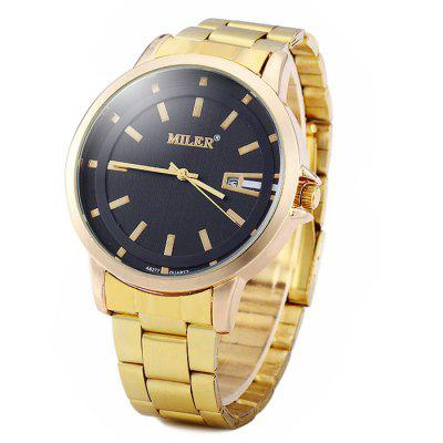 gold color watches men best deals online shopping gearbest com miler a8277 golden color date display male quartz watch stainless steel strap