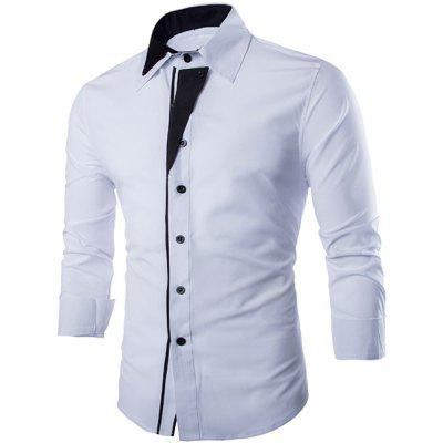Trendy Shirt Collar Irregular Color Block Splicing Slimming Long Sleeve Cotton Blend Shirt For Men