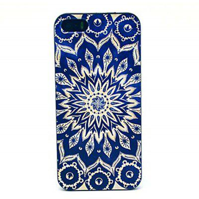 Kinston PC Material Back Cover Case with Blue Sunflower Pattern for iPhone SE / 5 / 5S