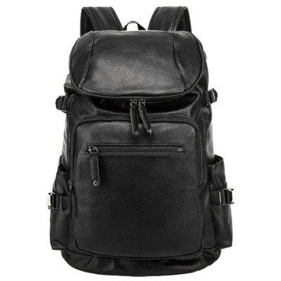 Preppy PU Leather and Solid Color Design Men's Backpack