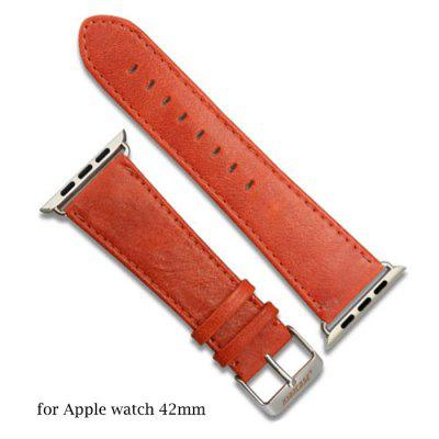 Jisoncase Oil Wax Genuine Leather Band Watch Strap for Apple Watch iWatch 42mm
