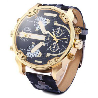 Shiweibao A3137 Digital Camouflage Leather Band Male Quartz Watch