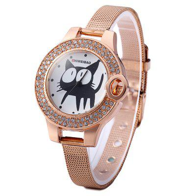 Shiweibao Lady Golden Steel Net Strap Diamond Cat Pattern Quartz Watch