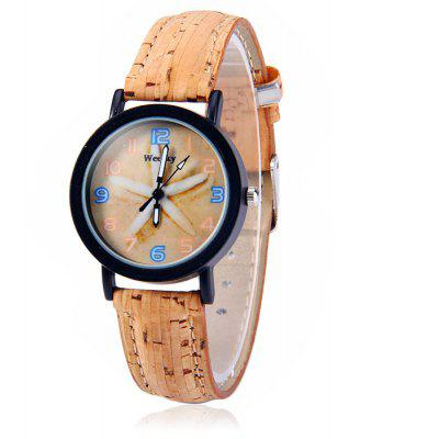 Weesky Female Starfish Pattern Quartz Watch with Wood Grain Leather Strap