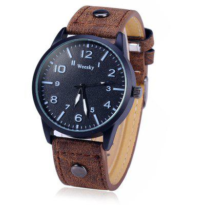 Weesky 1203G Male Quartz Watch with Leather BandMens Watches<br>Weesky 1203G Male Quartz Watch with Leather Band<br><br>Available Color: Black,Blue,Brown,Red<br>Band material: Leather<br>Brand: Weesky<br>Case material: Stainless Steel<br>Clasp type: Pin buckle<br>Display type: Analog<br>Movement type: Quartz watch<br>Package Contents: 1 x Weeshy 1203G Watch<br>Package size (L x W x H): 26.00 x 5.00 x 1.90 cm / 10.24 x 1.97 x 0.75 inches<br>Package weight: 0.0870 kg<br>Product size (L x W x H): 25.00 x 4.00 x 0.90 cm / 9.84 x 1.57 x 0.35 inches<br>Product weight: 0.0370 kg<br>Shape of the dial: Round<br>The band width: 2.0 cm / 0.79 inches<br>The dial diameter: 4.0 cm / 1.57 inches<br>The dial thickness: 0.9 cm / 0.35 inches<br>Watch style: Fashion<br>Watches categories: Male table<br>Wearable length: 17.5 - 22 cm / 6.89 - 8.66 inches