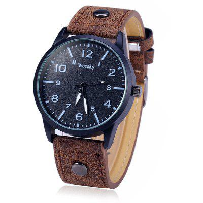 Buy BROWN Weesky 1203G Male Quartz Watch with Leather Band for $5.31 in GearBest store