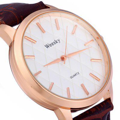 Weesky Grid Face Male Quartz Watch with Leather Strap