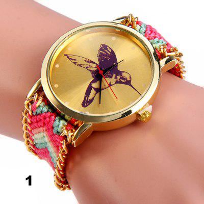 Woven Woolen Female Hummingbird Quartz Watch Pull Cord Bracelet