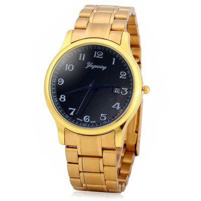 Yagexing Water Resistance Fine Steel Band Male Quartz Watch with Date Function