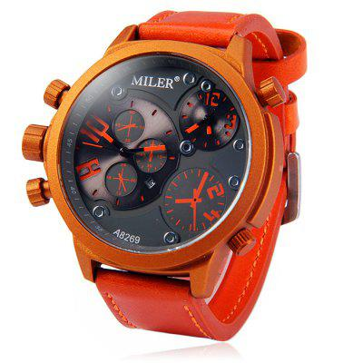 Miler A8269 Dual Movt Men Quartz Watch with Date Function Leather Band