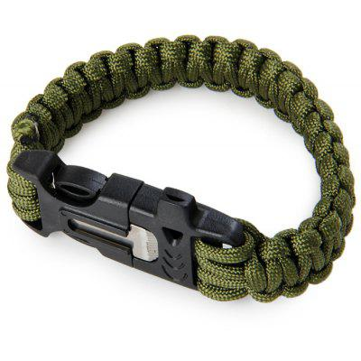 4 in 1 Multipurpose Emergency Survival Bracelet Scraper Paracord Flint Fire Starter Whistle Outdoor Camping Hiking Necessaries