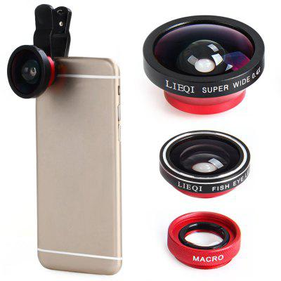 LIEQI LQ  -  003 3 - in - 1 Fish Eye Macro 0.4X Super Wide Angle External Camera Lens