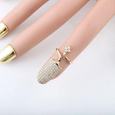 ONE PIECE Chic Rhinestoned Flower Women's Cuff Nail Ring