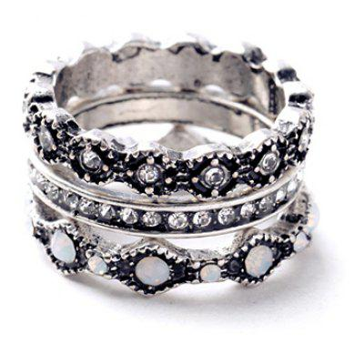 3PCS Chic Rhinestone Round Rings For Women