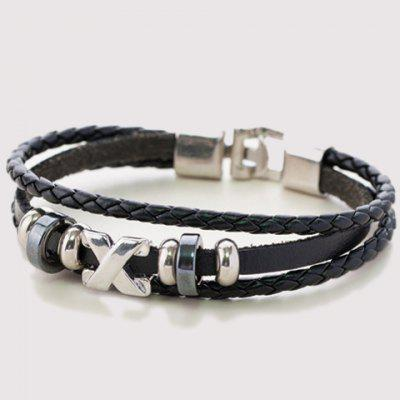 Punk Criss Cross Layered Faux Leather Bracelet