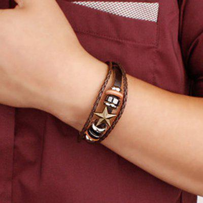 Characteristic Faux Leather Star Layered Beads Men's Bracelet