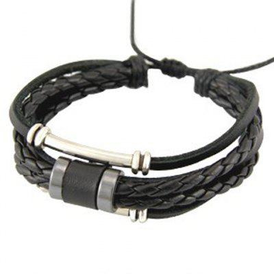 Punk Braided Faux Leather Chain Bracelet