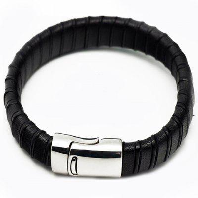 Classic Faux Leather Bamboo Men's Bracelet