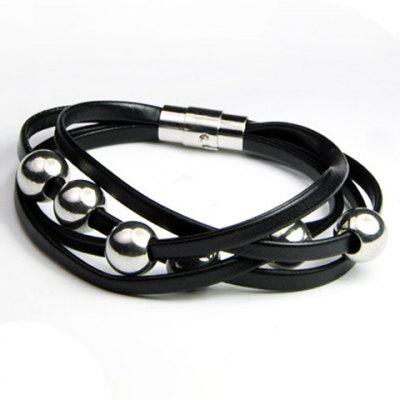 Delicate Layered Beads Faux Leather Bracelet For Men