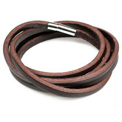 Stylish Faux Leather Layered Bracelet For Men