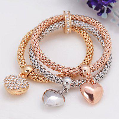 Rhinestone Heart Layered Bracelet