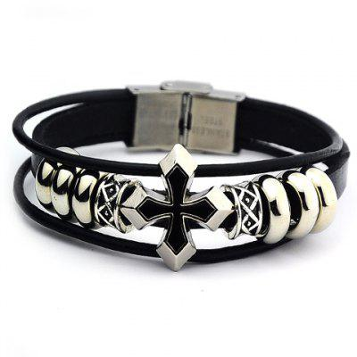 Cross Faux Leather Bracelet