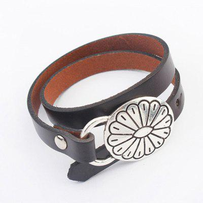 Retro Sunflower Faux Leather Chain Bracelet For Women