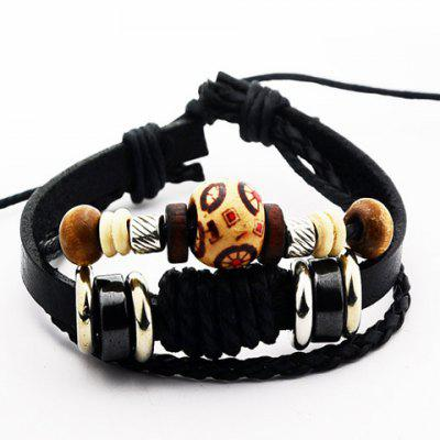 Classic Faux Leather Beads Bracelet For Men