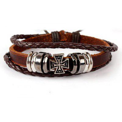 Cross Layered Faux Leather Bracelet