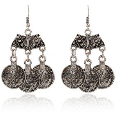 Vintage Coin Pendant Earrings For Women