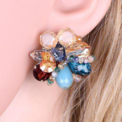 Pair of Faux Crystal Flower Earrings