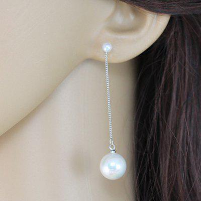 Pair of Stylish Chic Round Pendant Faux Pearl Earrings For Women