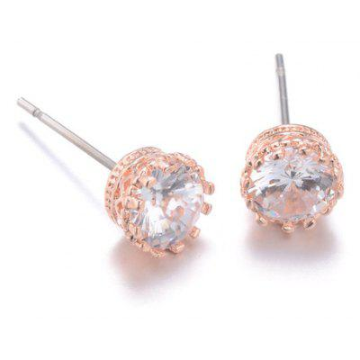 Pair of Sparking Rhinestoned Crown Women's Earrings