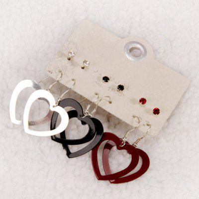 Pair of Punk Style Solid Color Hollow Out Heart Women's Earrings